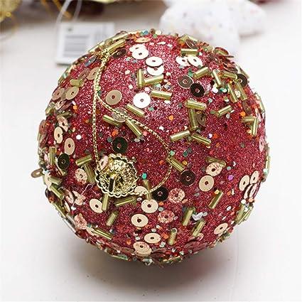 BaZhaHei Adornos de árbol de Navidad, decoración Navidad Rhinestone Brillo Adornos Bolas Árbol de Navidad Adorno Decoración 8 CM Lentejuelas Adhesivas Tiras ...