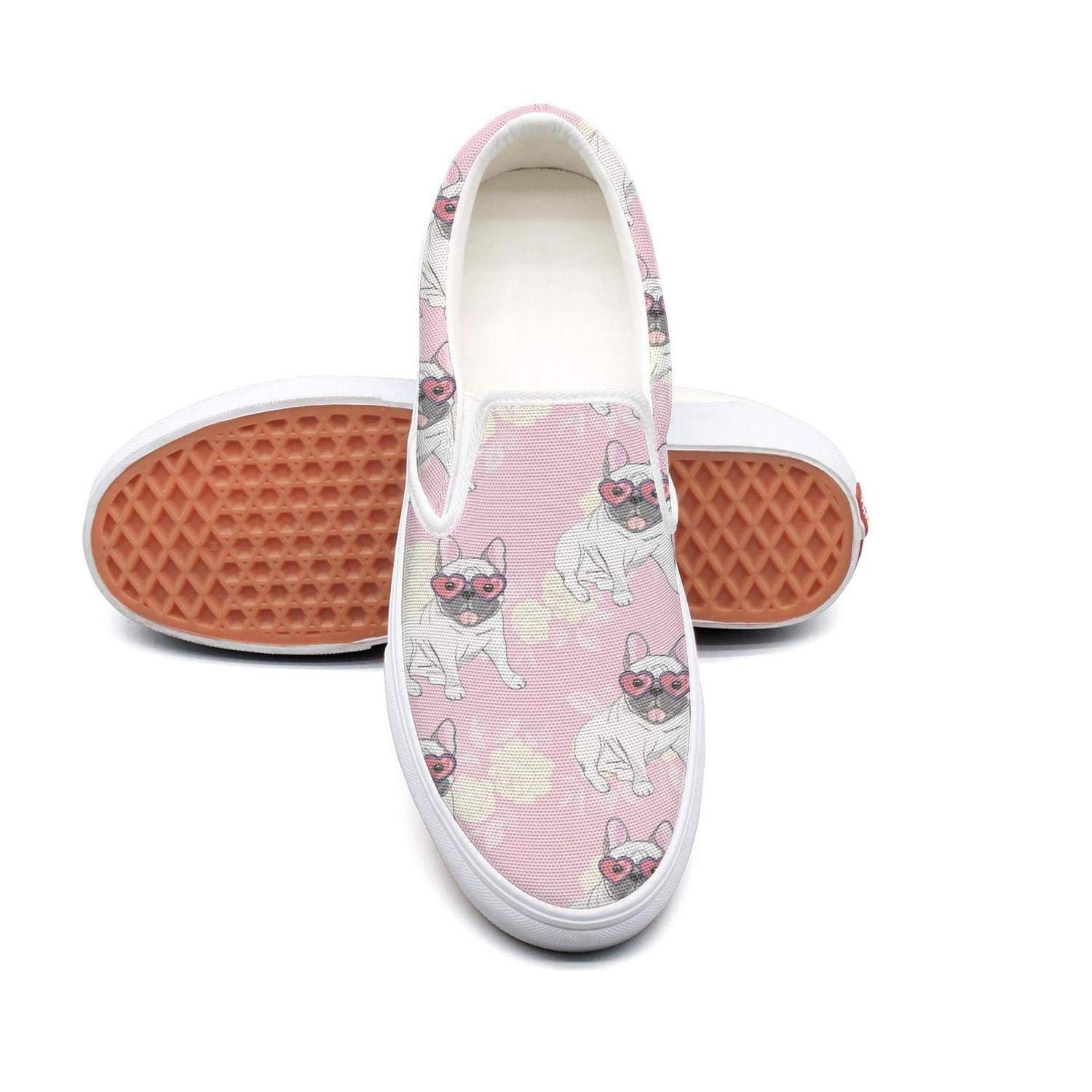 PDAQS Women French bulldog heart sunglasses pink loafers skate shoes low top