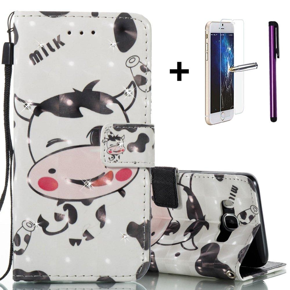 Étui de téléphone coque portefeuille pour Samsung Galaxy J5 2016 / J510 - NEWSTARS (avec protection d'écran en verre trempé gratuit + 1 stylet) - motif d'éléphant rétro embossé - cuir PU style