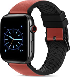 FITWORTH High End Hybrid Band Compatible with Apple Watch Band 42mm 44mm, Silicone + Genuine Leather, Simple, Neat & Sweat Resistant, Suit for Men's Business Casual & Light Sports (Mahogany, 42/44)