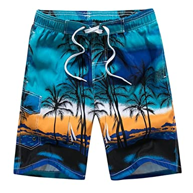598b7a44edb JEELINBORE Men s Summer Holiday Beach Shorts Plus Size Swimming Trunks  Surfing Boardshorts with Mesh Lining (