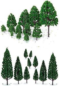 WINOMO 22pcs Model Trees DIY Train Street Railway Scenery Landscape Accssory Green Mini Tree Set Scenery Architectural Landscape Model Trees