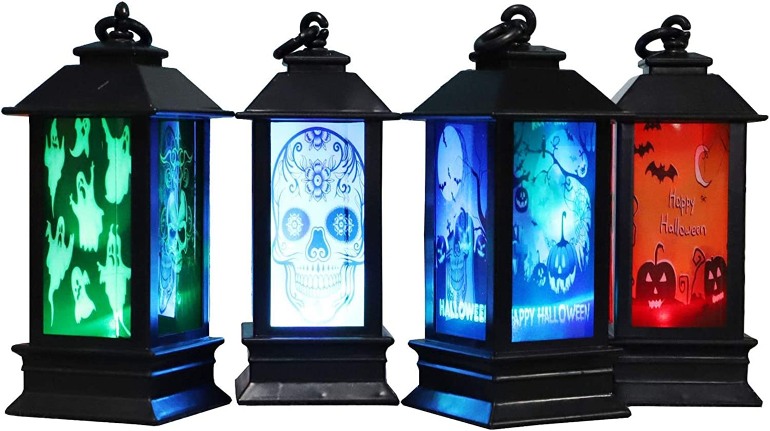 Mini Black Candle Lanterns,Vintage Style Decorative Hanging Small Lantern with Flickering LED for Halloween,Christmas,Wedding,Table Centerpiece, Accent Piece and Party Favor (Black, 4 Pieces)