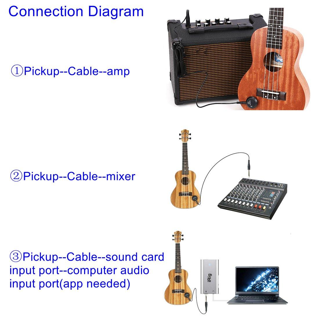 Luvay Acoustic Guitar Pickup, contacto con micrófono piezo transductor para guitarra acústica, ukelele, mandolina, banjo, violin, violonchelo, Kalimba, etc.