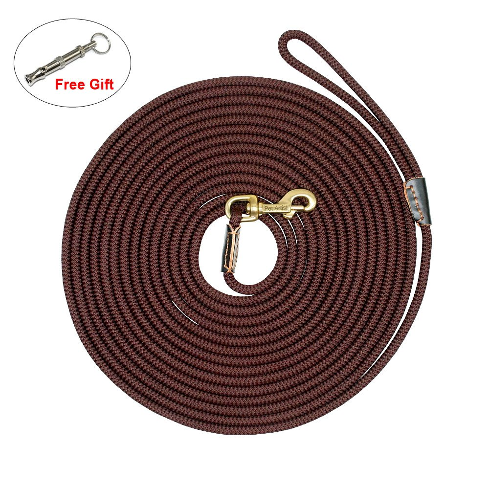 PET ARTIST Braided Nylon Rope 10ft-66ft Tracking/Training Long Dog Leash, Dark Brown Rope with Anti-Rust Heavy Duty Copper Clasp/Hook - Extra Long Lead with Comfortable Touching(33ft)