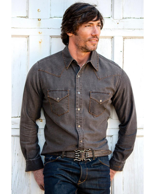 Ryan Michael Men's Distressed Waffle Shirt Buffalo Brown Large
