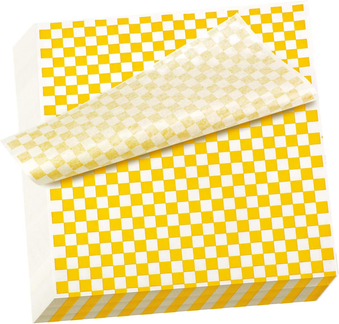 Hslife 100 Sheets Yellow and White Checkered Dry Waxed Deli Paper Sheets, Paper Liners for Plasic Food Basket, Wrapping Bread and Sandwiches(11''x11.6'')