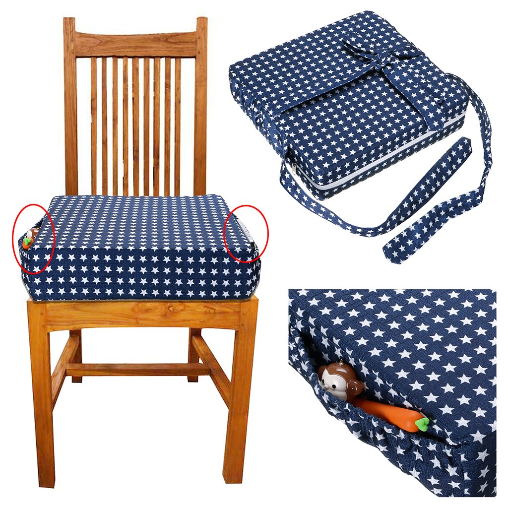 Baby Toddler Kids Infant Portable Dismountable Highchair Booster Cushion Washable Thick Chair Seat Pads Strap Sumnacon Chair Increasing Cushion Blue Star