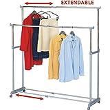 Tatkraft Big Party Large Double Portant pour Vêtements Télescopique en Acier Chrome sur Roues 161.5X44X166 cm