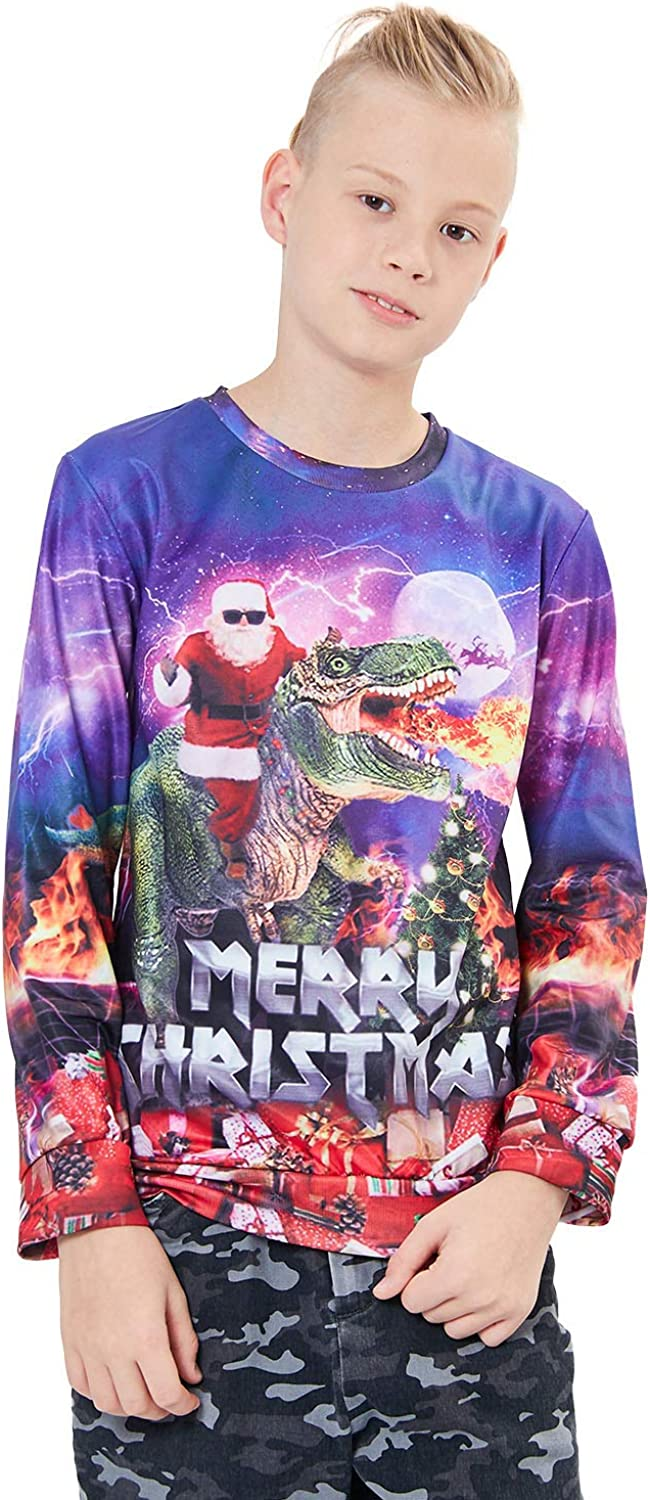 UNICOMIDEA Kids Ugly Christmas Sweater 3D Printed Sweatshirt Unisex Pullover Crewneck Shirts for 6-16 Years Old