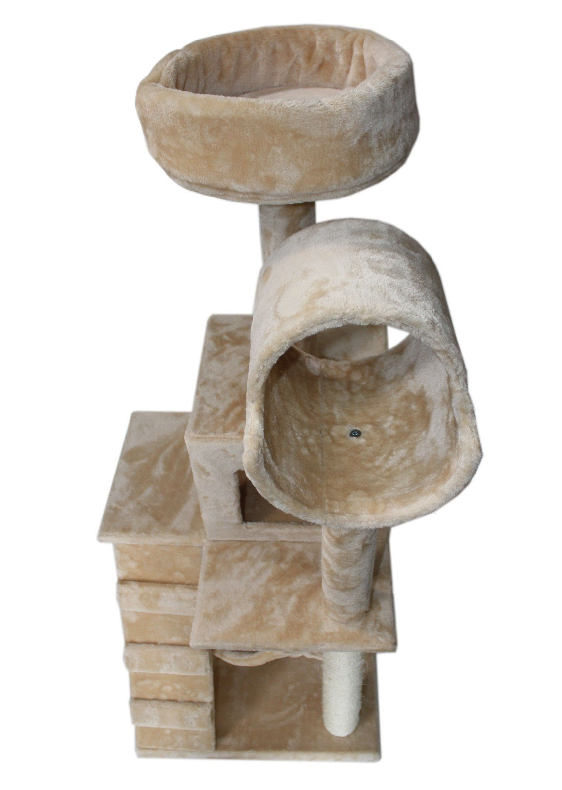Hiding Cat Tree 49'' Tree Tower Condo Furniture Scratch Post Kitty Pet House Play Furniture Sisal Pole Stairs and Hammock (Beige)