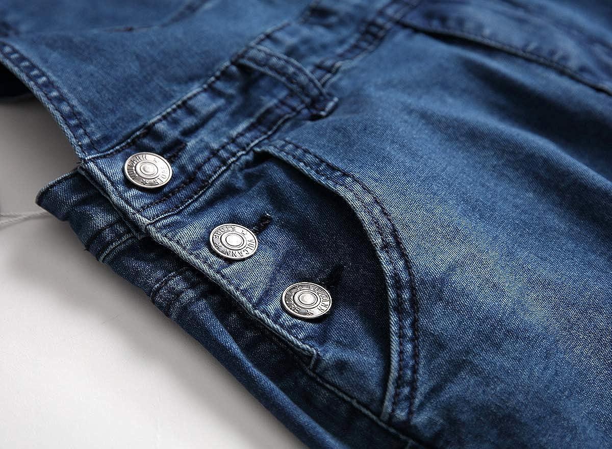 tetyseysh Mens Slim Fit Ripped Denim Distressed Bib Overalls Jumpsuit Jeans