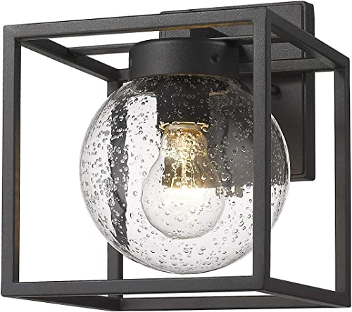 Rosient Outdoor Wall Lights, Exterior Wall Mount Light, Outdoor Porch Lights,Outdoor Wall Sconces in Black Finish with Seeded Glass Black-Wall Light, 1 Pack