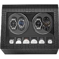 HBselect Watch Winde Lussuoso 4 + 6 Posizioni per orologio Scatola Carica Orologio Automatico in Pelle PU Winder per Orologi Nero