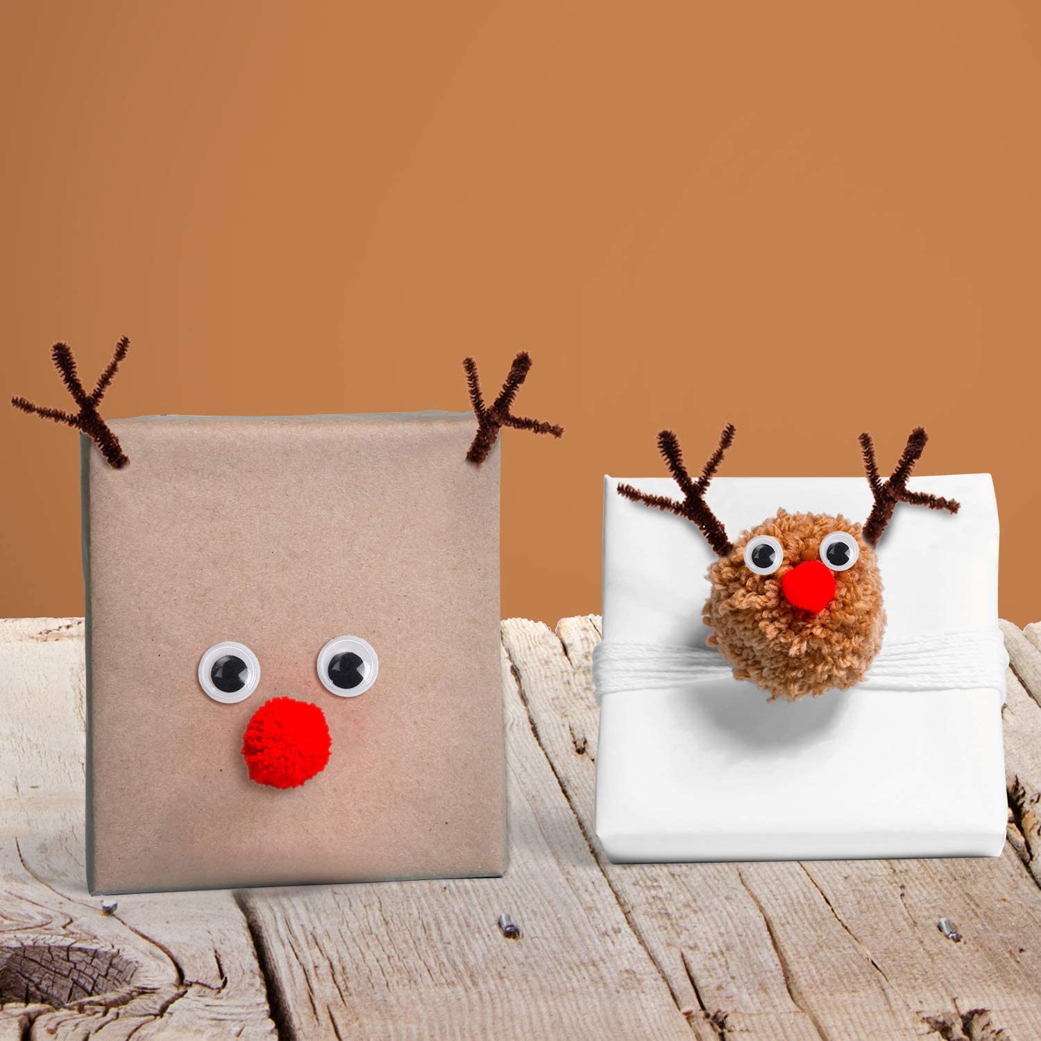 150 Pieces Brown Pipe Cleaners Chenille Stems 150 Pieces Red Pom Poms Assorted Size Craft Pompoms and 300 Pieces Wiggle Googly Eyes with Self-Adhesive Back for Christmas Reindeer Crafts DIY Making