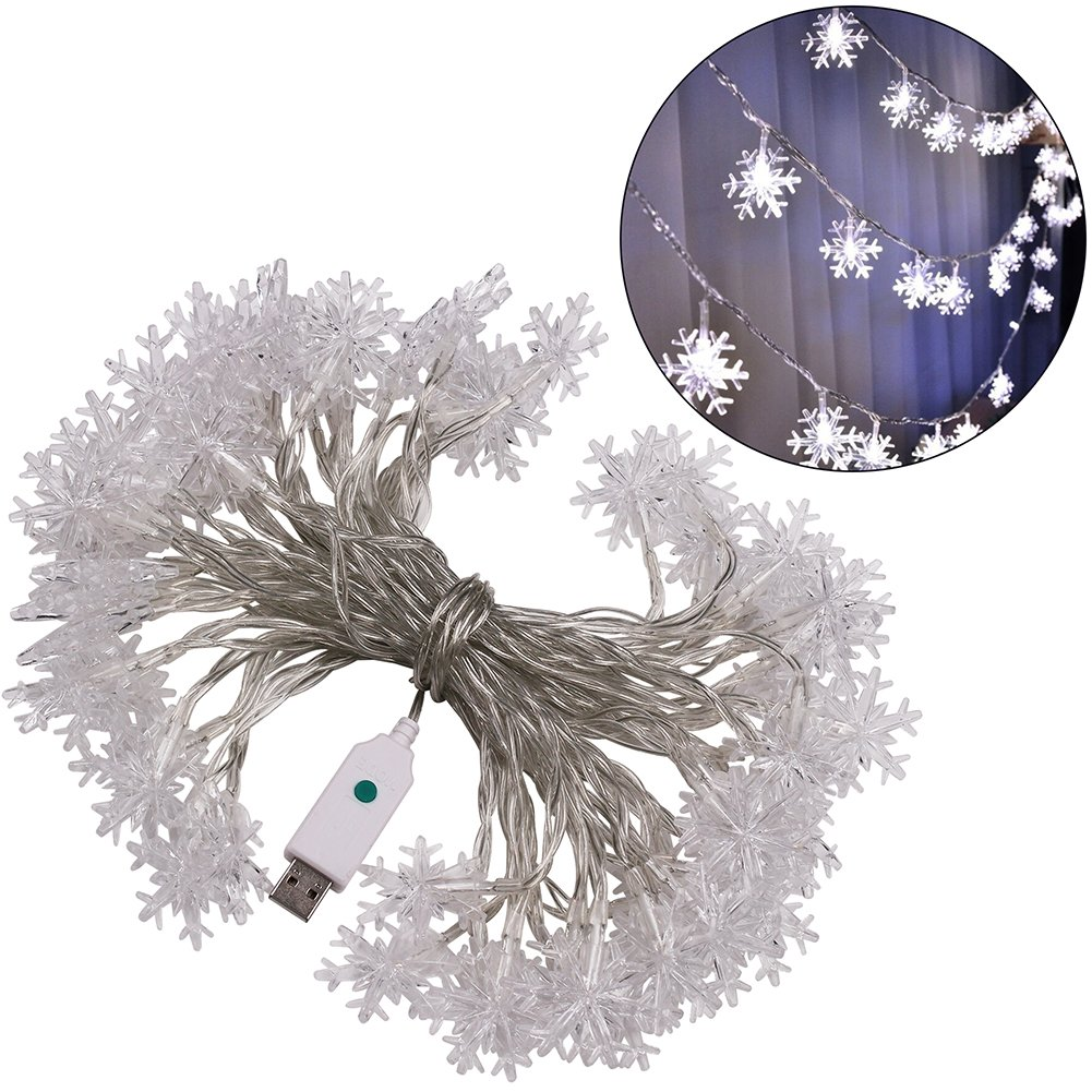 8 Modes USB Powered Indoor Outdoor Waterproof Fairy Snowflake String Light Party Lighting for Patio Christmas Wedding Bedroom Decoration 10MSNOWFLAKE-60LED-WH XUNATA 33ft LED String Lights White