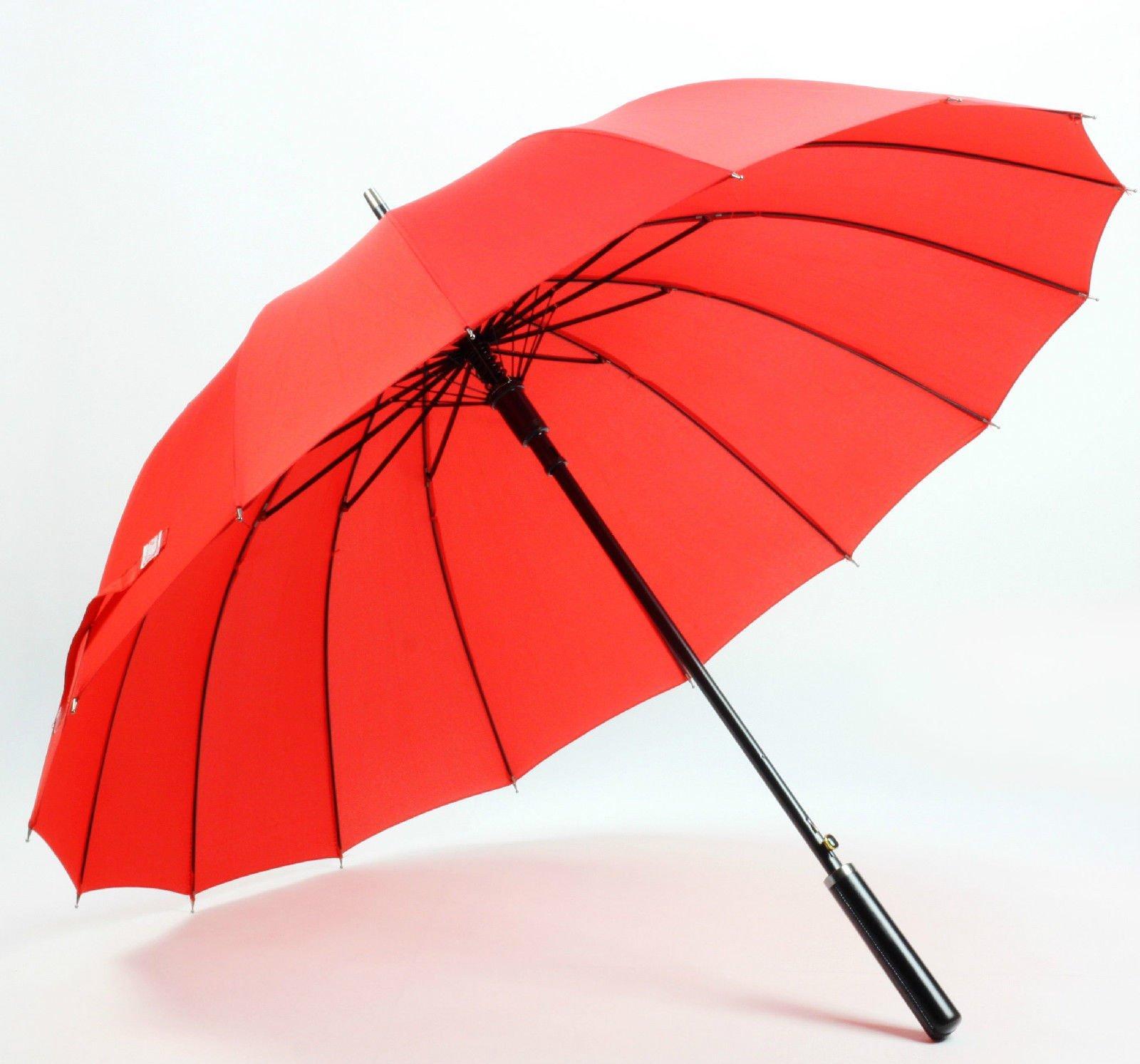 Red Women'S Mens Windproof Retro Business Sun Rain Long Umbrella