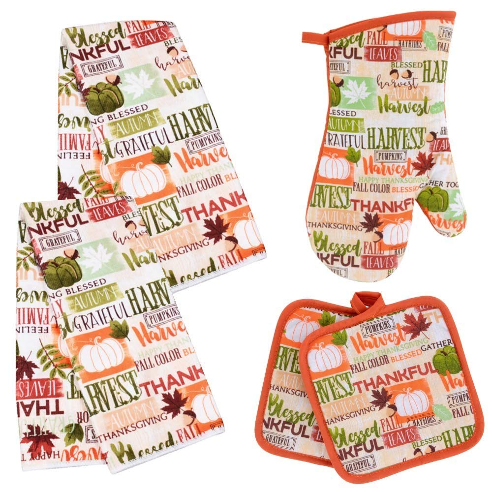 Fall Themed Words Kitchen Towel Set with 2 Quilted Pot Holders, 2 Dish Towels and 1 Oven Mitt