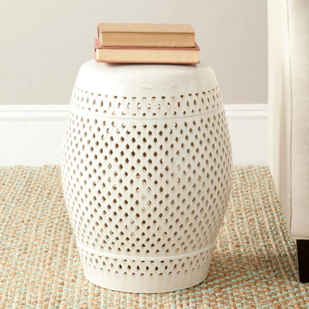Safavieh Diamond Ceramic Decorative Garden Stool, Cream