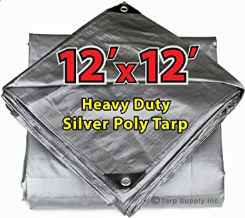 Heavy Duty Silver Tarp 6 OZ. 12x12