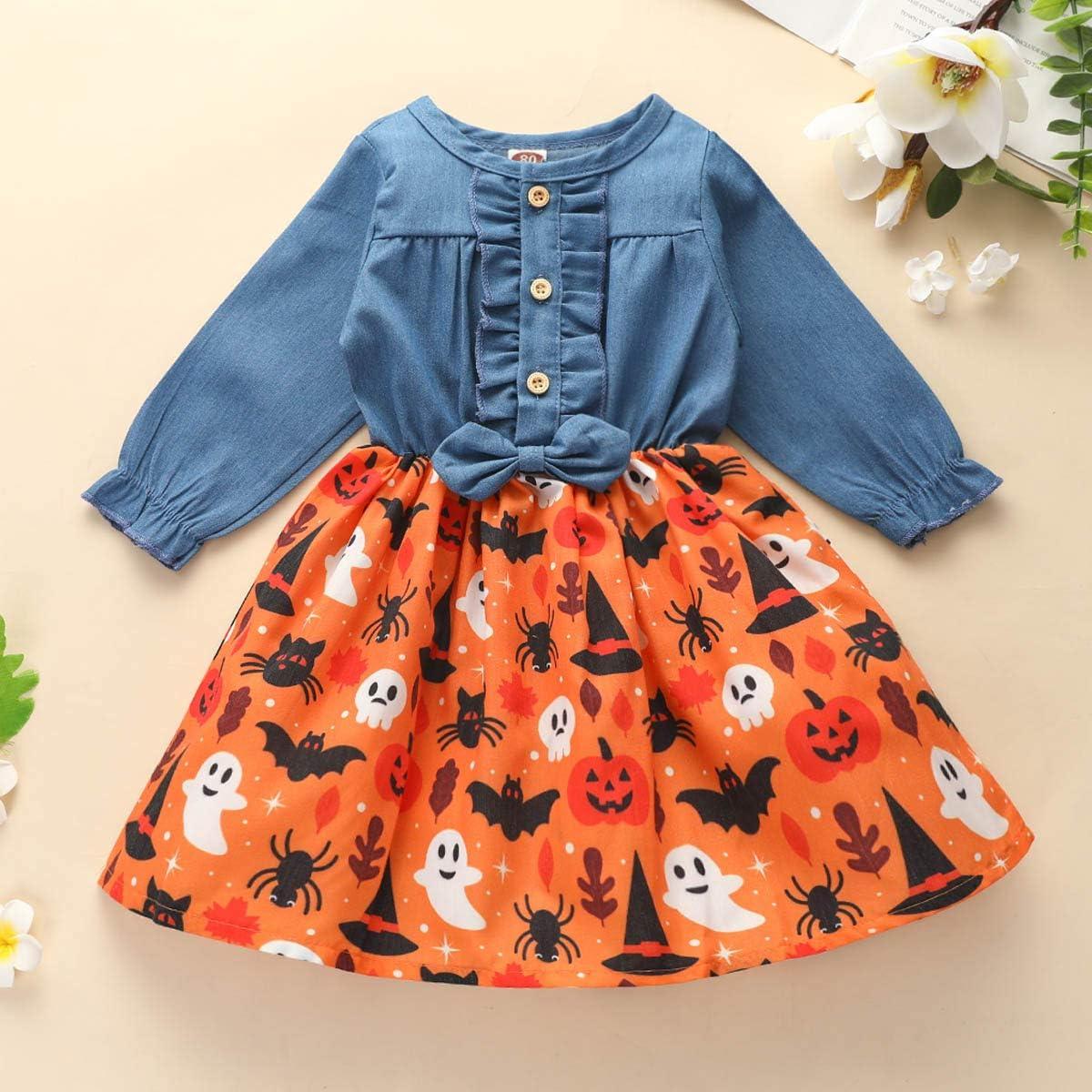 JBEELATE Baby Girls Halloween Denim Dress Long Sleeve Ruffle Button Dress Ghost Printed Tutu Skirt
