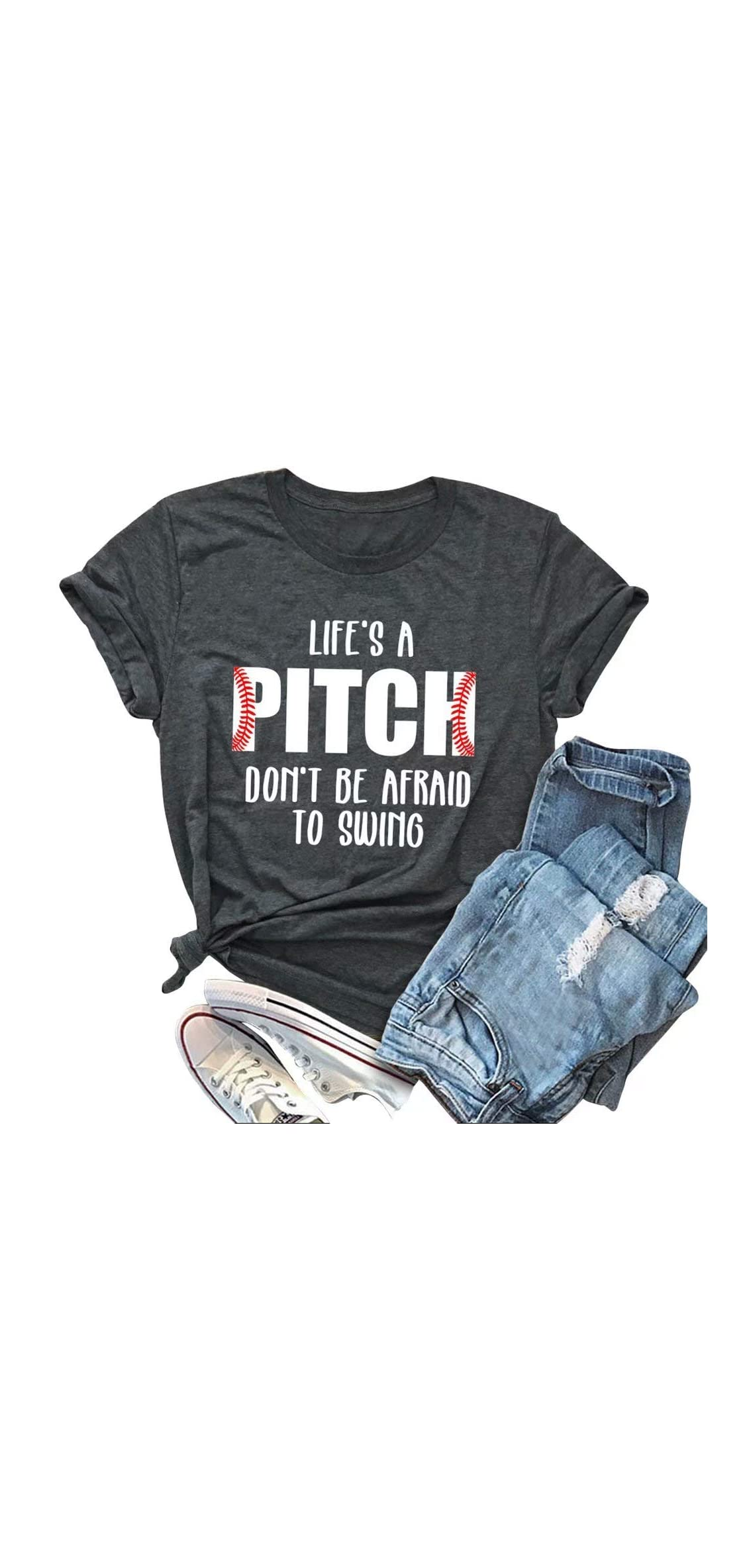 Women's Life's A Pitch Don't Be Afraid To Swing T-shirt
