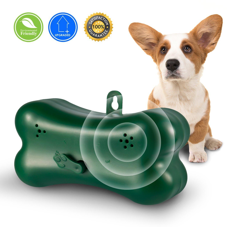 Upgraded Mini Bark Control Device Outdoor Anti Barking Ultrasonic Dog Bark Control Sonic Bark Deterrents Silencer Stop Barking Bark Stop Repeller (Green)