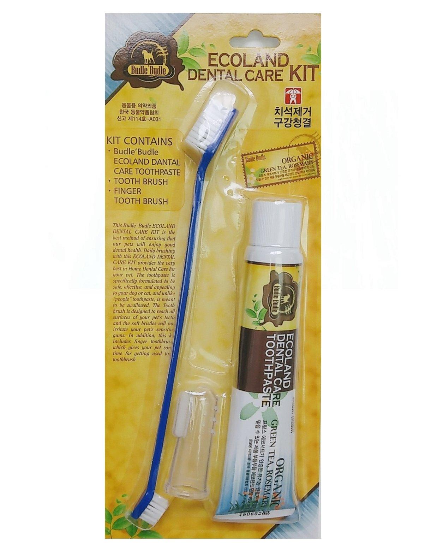 ECOLAND Buddle Buddle Dog Cat rubbing Natural Organic Dental Toothpaste 2.46 Ounce + ECOLAND silicone finger tooth brush + bothside toothbrush set / Ecoland Dental Care Kit