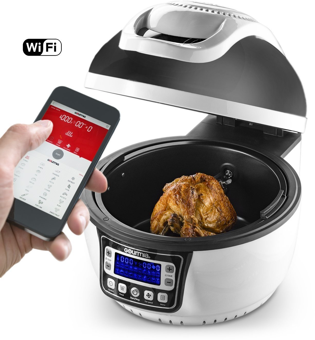 Gourmia GTA2800 WiFi Air Fryer - Multi Function Halogen Powered Rotating Rotisserie Grill & Electric Oven, 20 Cooking Functions, Programmable Timer, Includes 11pc Kit & Free Recipe Book - 110V by Gourmia (Image #1)