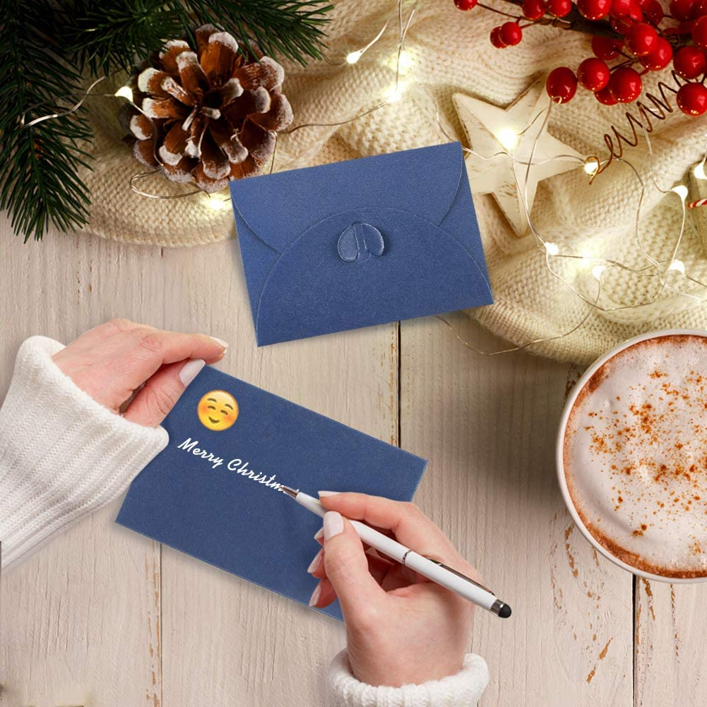 100PCS 4 x 2.8 inch Cute Envelopes Small Gift Card Holders Mini Blue Seed Envelopes with Heart Shaped Clasp HANSGO Gift Card Envelopes