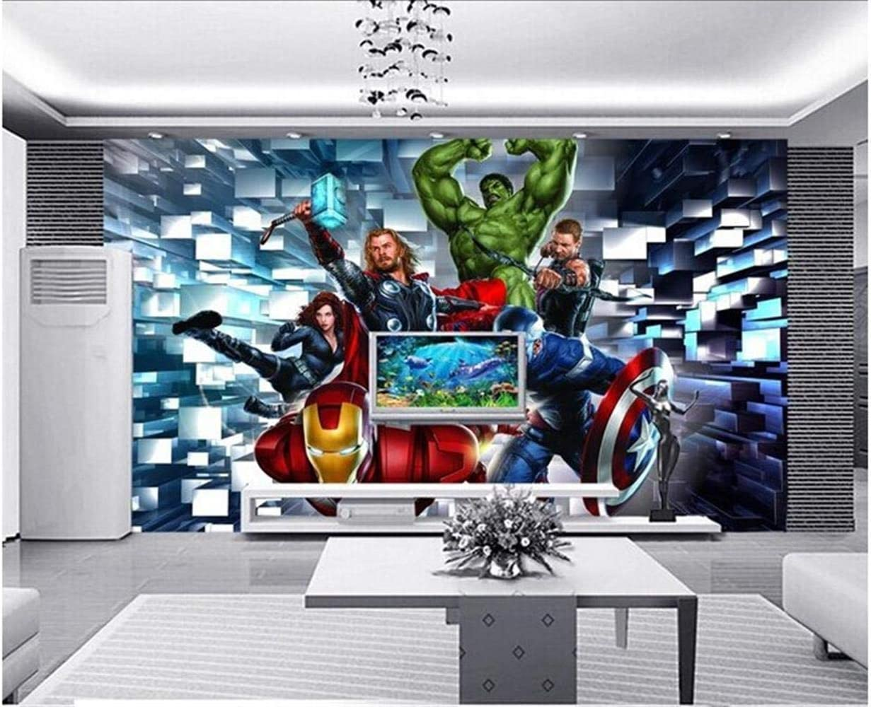 Papier peint comique Bar de la salle de jeu Internet Cafe D/écoration murale Papier peint 3D Cartoon Cartoon Avengers Fresco,200x140cm
