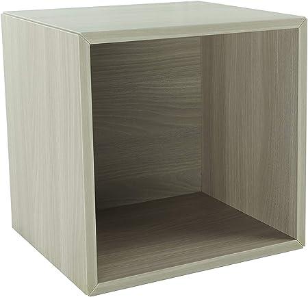 Pequeño mueble de madera, estante, estantería, librería, mesilla de noche, mueble, cubo, organizador de espacio para dormitorio, salón, cuarto de baño, cocina. 365x365x330 mm (Olmo)..