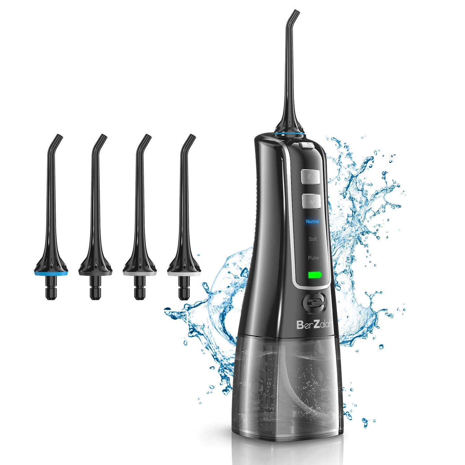 BerZalah Water Flosser Cordless Water Flosser with 3 Modes & 4 Tips, Portable Oral Irrigator for Home, Office, and Travel, High-frequency Pulsation for Braces & Bridges Care, IPX7 Waterproof, 300ML by BerZalah