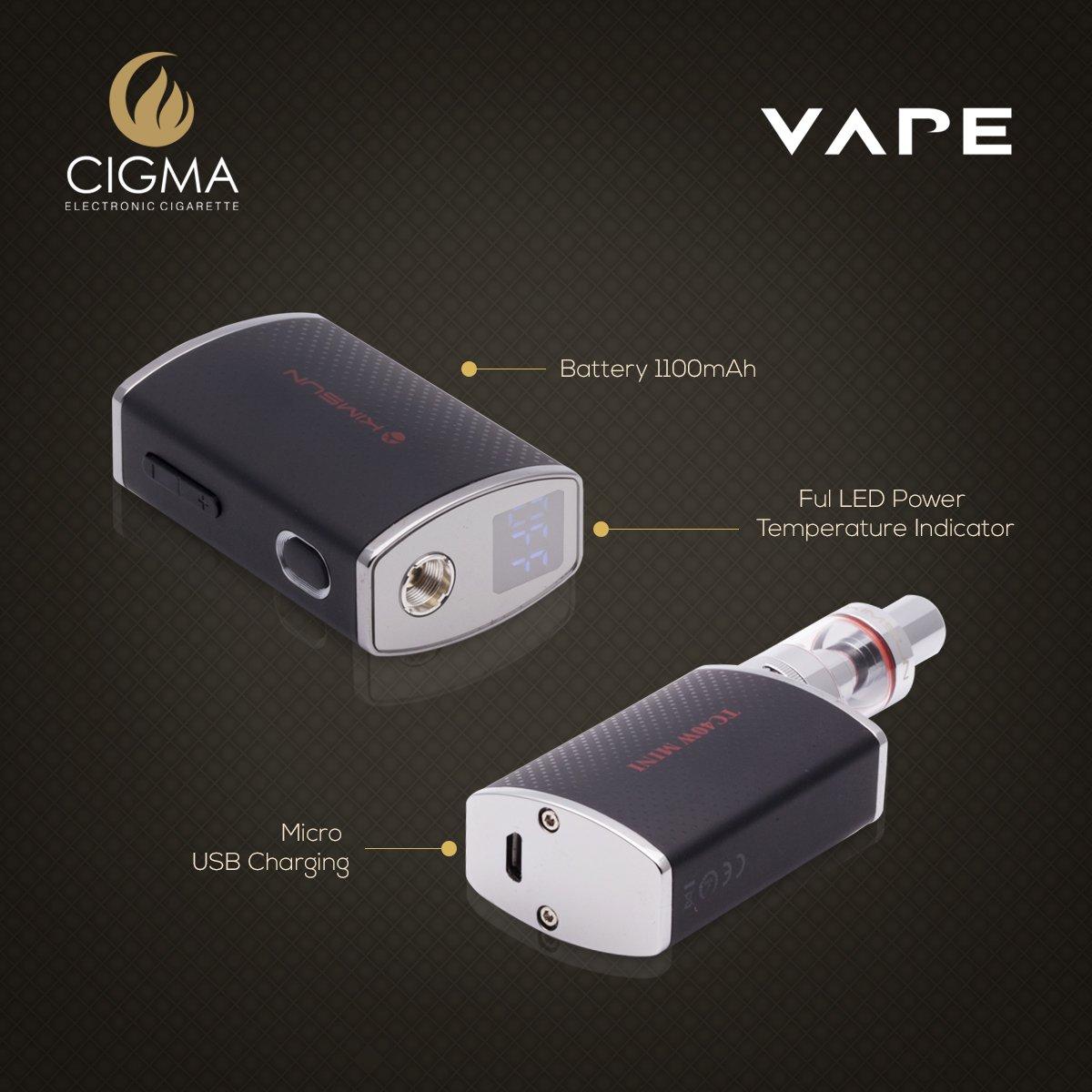 CIGMA El Box Mod | Kit de cigarrillos electrónico | 40W 0.6 Ohm Sub ohm Kit de vapeo con indicador LED de temperatura | FLUJO DE AIRE | Micro USB ...