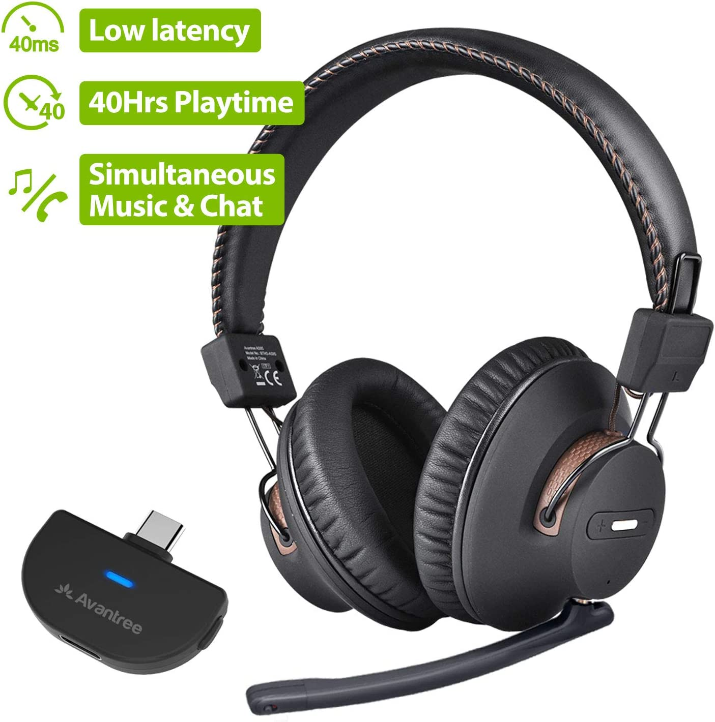 Avantree Bluetooth 5.0 USB C Audio Transmitter & Wireless Gaming Headphones Set for Nintendo Switch, PC Desktop Computer, Plug & Play, Chat & Music Simultaneously, No Delay, 40hrs Play Time - C519M