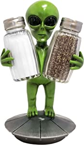 DWK - Celestial Spice - Alien on Space Ship Figurine Salt & Pepper Shaker Holder Extraterrestrial UFO Tabletop Display Novelty Home Kitchen Dining Décor Accent 3-Piece Set, 7.5-inch