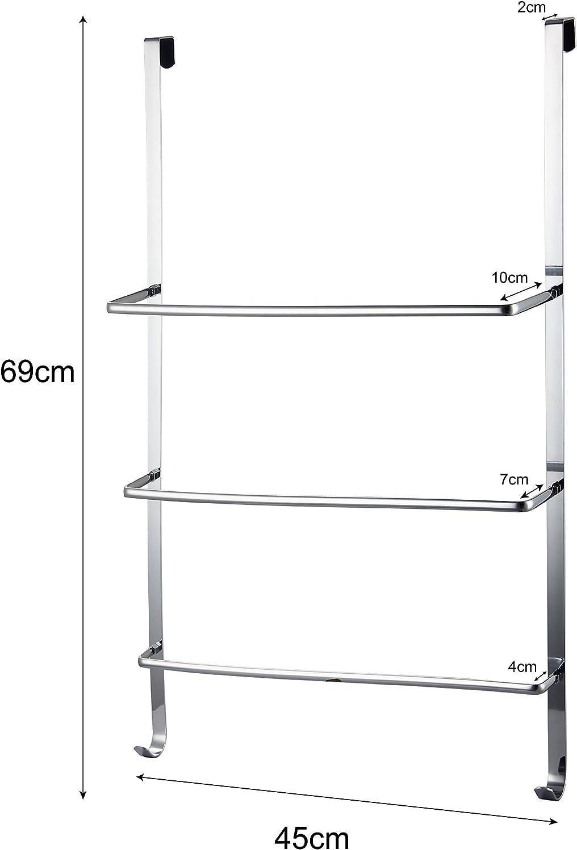 axentia Handtuchhalter für Tür Türgarderobe mit drei Stangen Handtuchhaken zum Hängen leichte Montage ca 45 x 10 5 x 69 cm verchromt