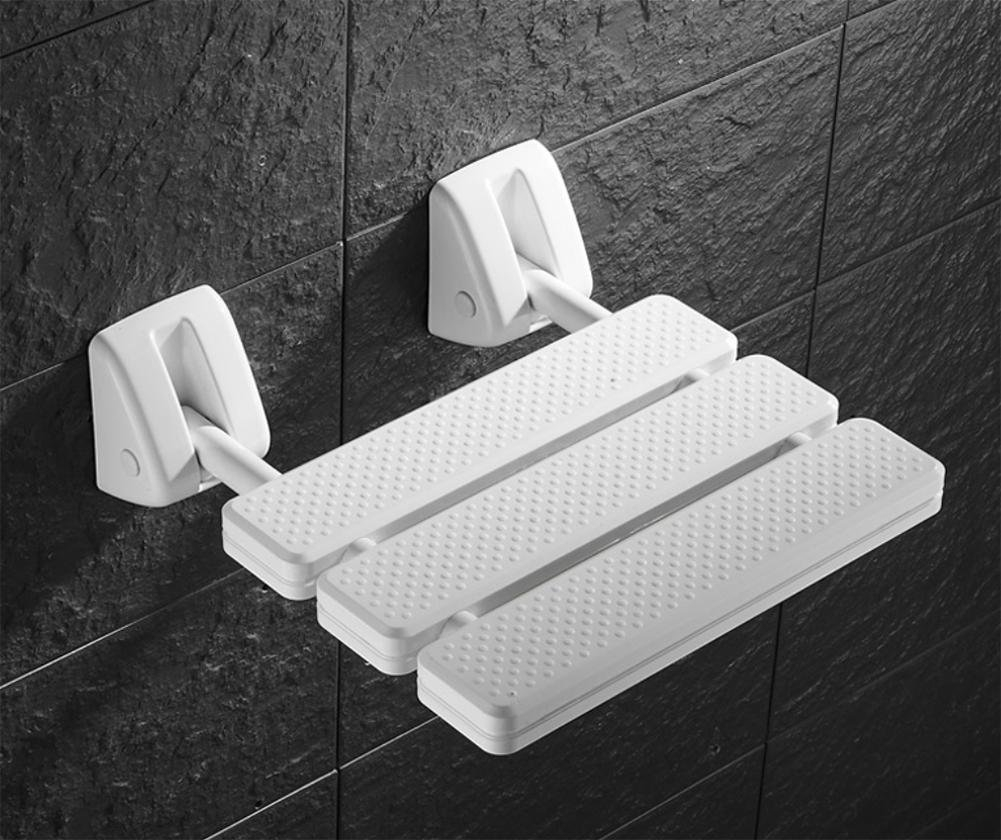 LUCKYYAN Bathroom Mobility Aid - ABS Engineering Plastics Wall Mounted Folding Shower Seat Stool - White,1.36kg/31.49st