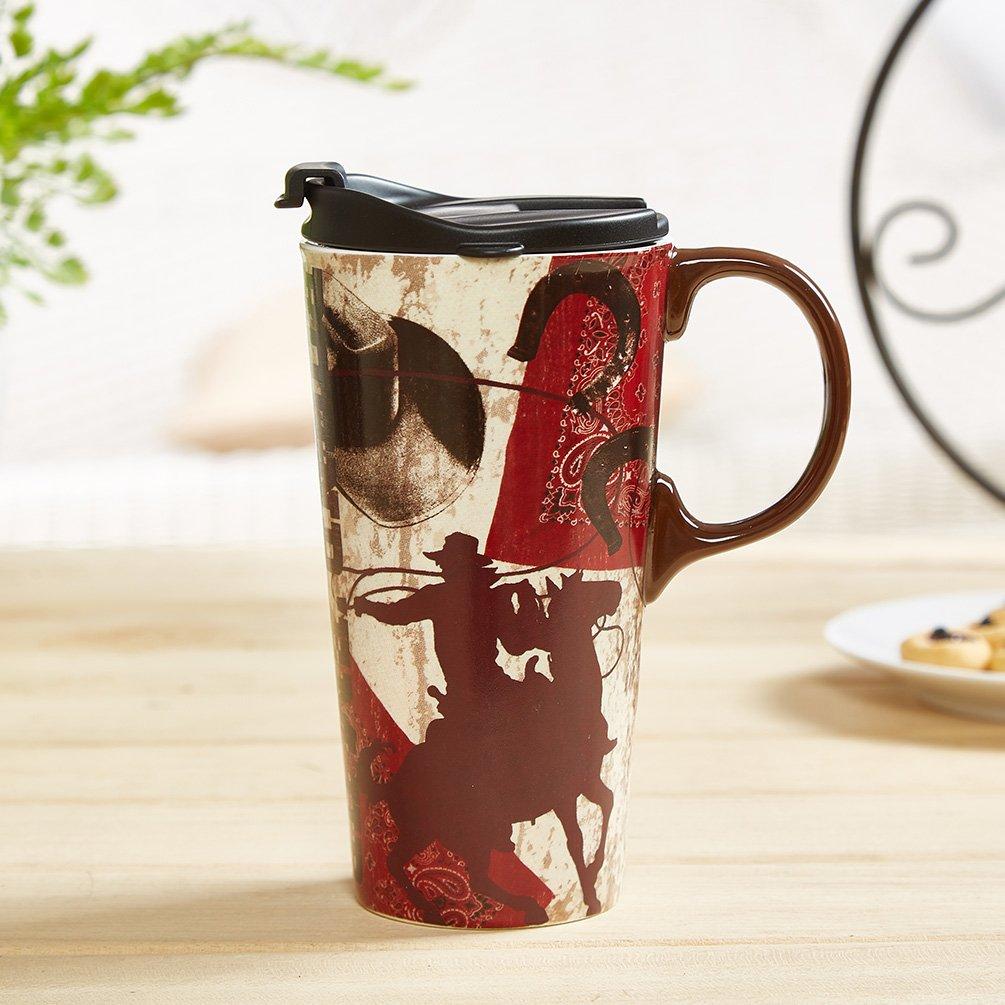 17oz Tall Ceramic Travel Mug Dishwasher Safe With Sealed Lid