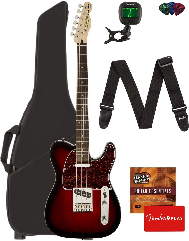 Fender Squier Standard Telecaster Guitar - Laurel Fingerboard, Antique Burst Bundle with Gig Bag, Tuner, Strap, Picks, and Austin Bazaar Instructional DVD by Fender