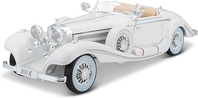 Bauer Spielwaren 36055 00000009 Maisto Mercedes 500 K Maharadjah Modellauto Mit Federung Maßstab 1 18 Türen Und Motorhaube Beweglich Fertigmodell Lenkbar 24 Cm Weiß 536055 Spielzeug