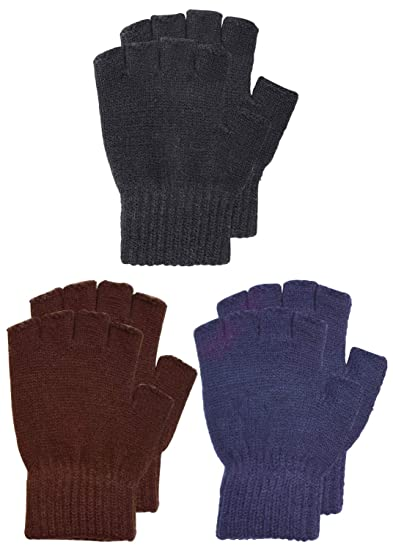 9ae13684712 SUNNYTREE Kids Knit Fingerless Gloves Warm Cashmere Pack of 3 Pairs Coffee