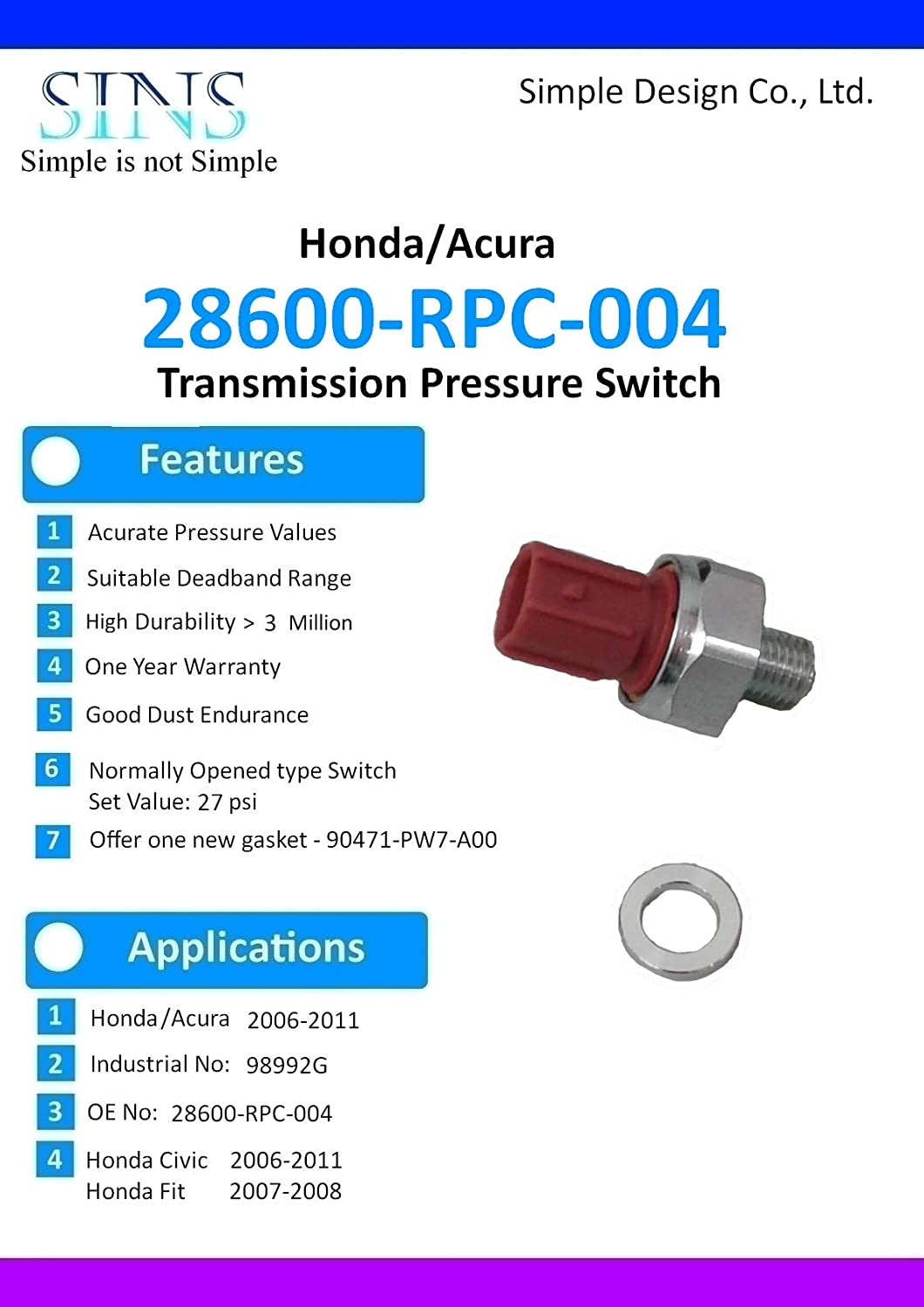SINS Civic Fit Transmission Pressure Switch 28600-RPC-004