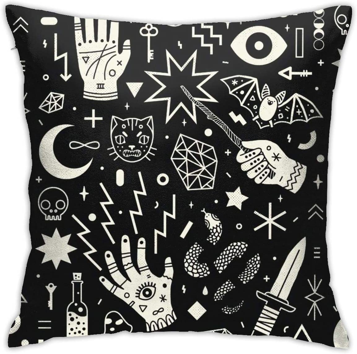 Yaateeh Magical Style Hand Eyes Moon Skull Cat Bat Snake Throw Pillow Covers Decorative 18x18 Inch Pillowcase Square Cushion Cases for Home Sofa Bedroom Livingroom