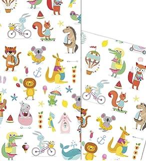 4 B/ögen mit Geschenkanh/änger und Schnur elefant Geschenkpapier neutral gefaltet umweltfreundlich ideal f/ür Babyparty M/ädchen Unisex Geschenkpapier f/ür Neugeborene f/ür Jungen 50 x 70 cm