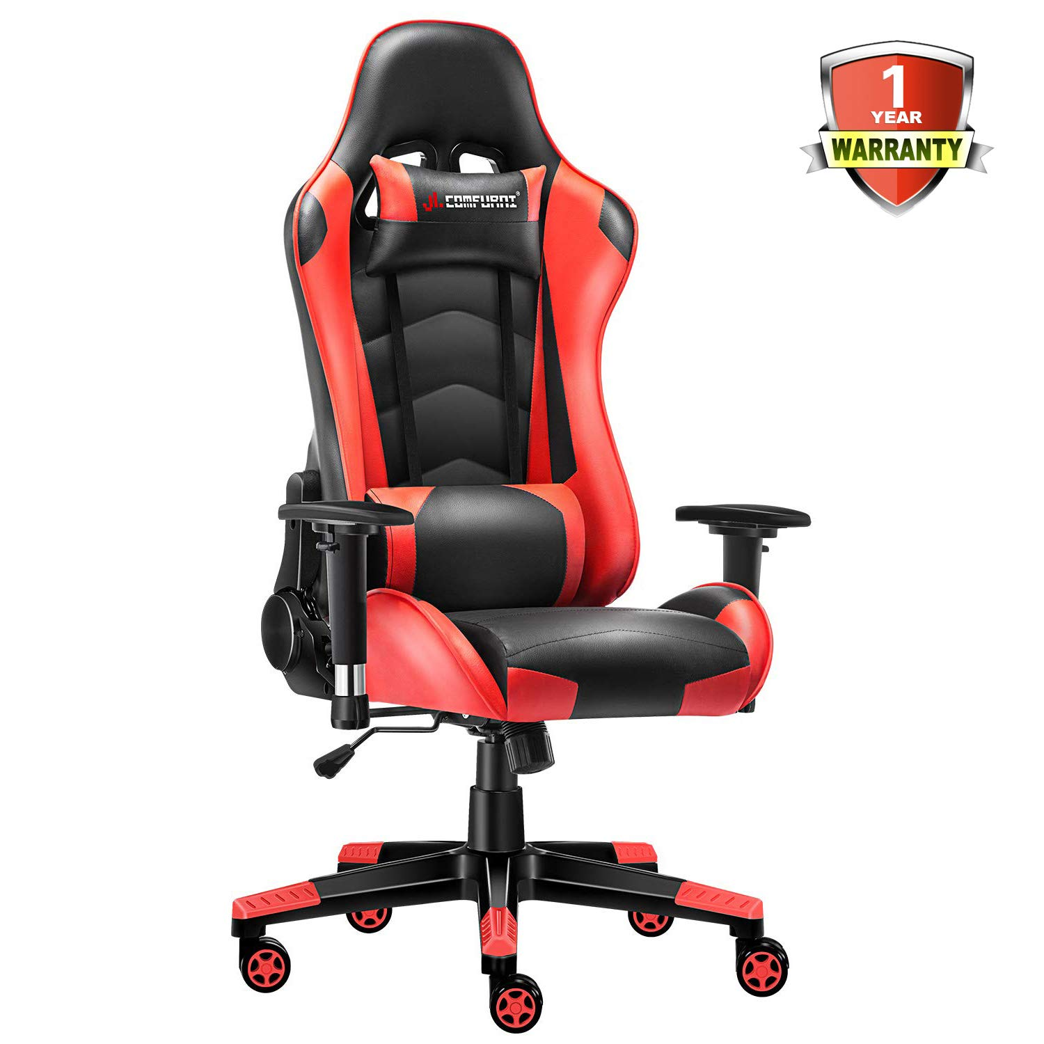 JL Comfurni Gaming Chair Racing Style Ergonomic Swivel Computer Office Desk Chairs Adjustable Height Reclining High-Back with Lumbar Cushion Headrest Leather Gamer Chair Red