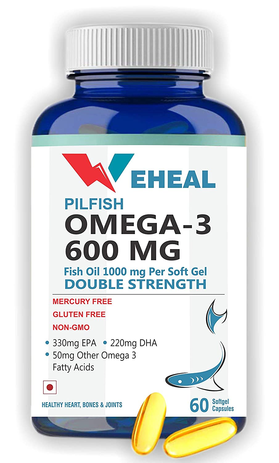 Weheal Double Strength Fish Oil 1000MG with Omega 3 – 60 Softgel Capsules