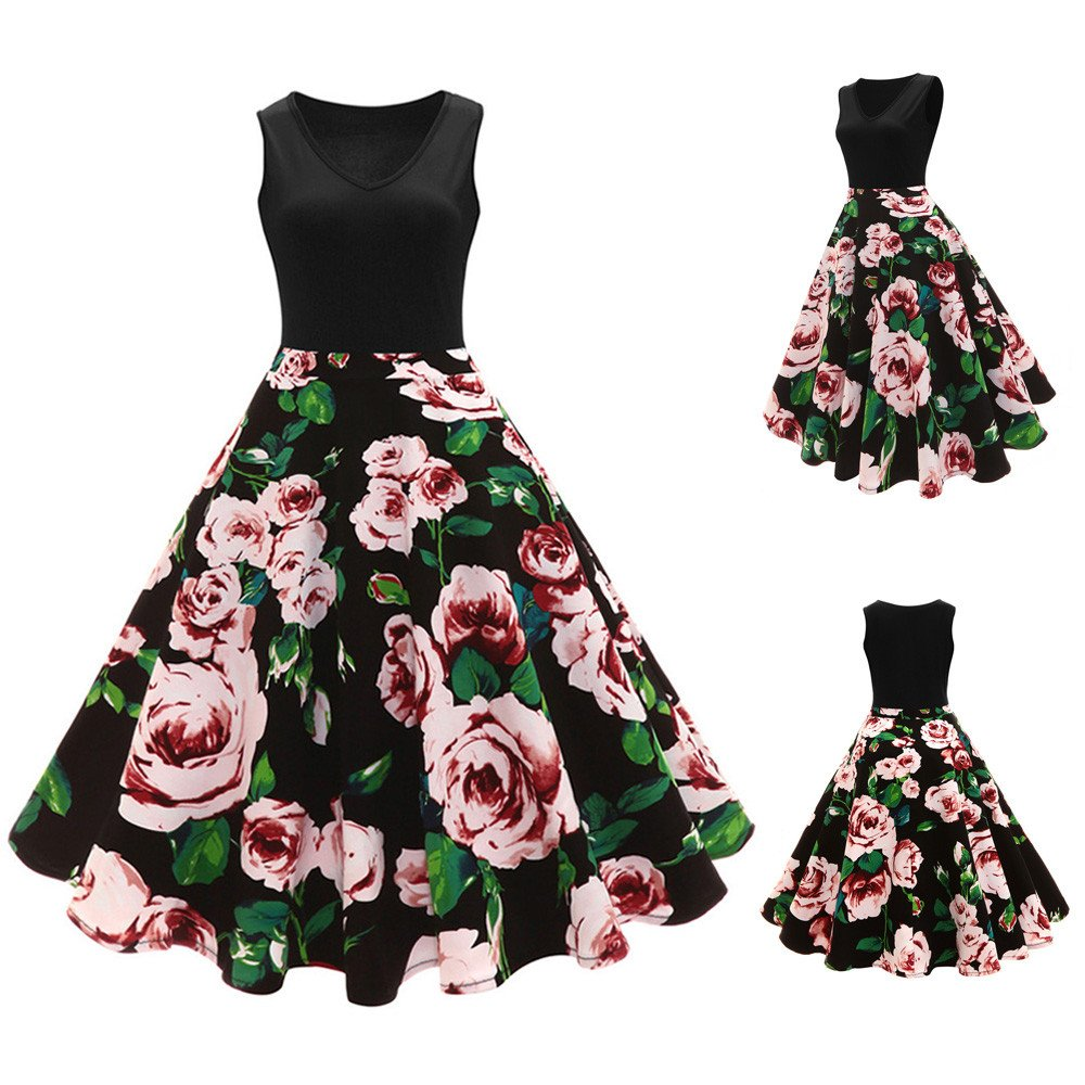 Women Dresses Godathe Women Sleeveless Floral Hepburn Vintage Button High-Waist Pleated Dress Plus XXL-5XL at Amazon Womens Clothing store: