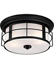 Westinghouse 6339200 Orwell Two-Light Outdoor Flush-Mount Fixture, Textured Black Finish with Frosted Seeded Glass, Round