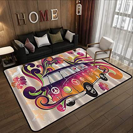 Amazon.com: Outdoor Rugs,Boho Decor Peace Van Funny Minivan ...